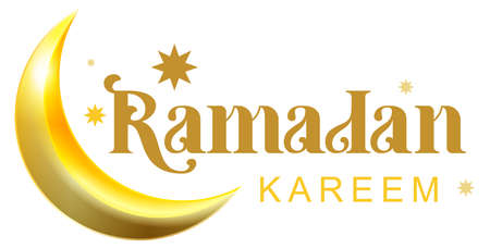 Ramadan kareem golden text and crescent for greeting card. Vector illustration isolated on white