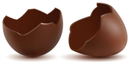 Brown broken chocolate egg cracked shell two halves. Vector cartoon illustration isolated on white
