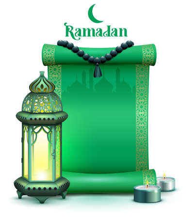 Holy month ramadan green scroll, vintage lamp and candles on background of mosque. Vector illustration template greeting card