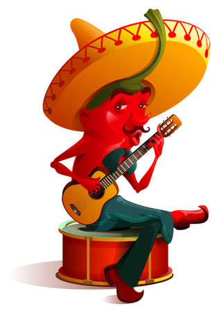 Mexican chili pepper character sombrero plays guitar. Cinco de mayo holiday. Isolated on white vector cartoon illustration Stock Illustratie