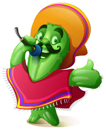Green cactus in traditional mexican clothes poncho and sombrero singing karaoke. Cinco de mayo fiesta festival. Vector cartoon illustration isolated on white Stock Illustratie