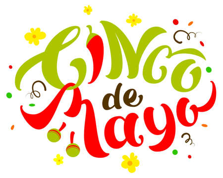 Cinco de Mayo text lettering for greeting card. Vector illustration isolated on white