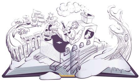 Russian guy Emelya on brick stove oven folk fairy tale. Open book illustration page. Vector cartoon isolated on white