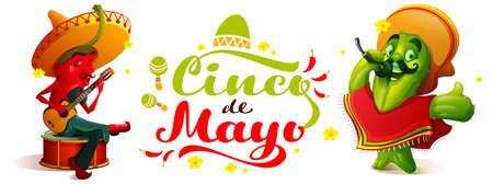 Cinco de Mayo text greeting card mexican festival. Green cactus and hot chili peppers. Vector cartoon illustration Stock Illustratie