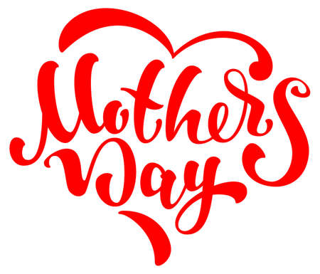 Mothers day lettering text heart shape template greeting card. Vector illustration isolated on white
