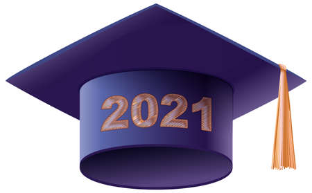 Mortarboard square academic cap symbol graduation 2021. Vector illustration isolated on white