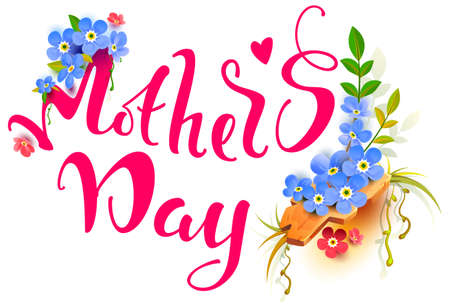 Mothers day greeting card lettering text and blue flower bouquet. Vector cartoon illustration isolated on white Stock Illustratie