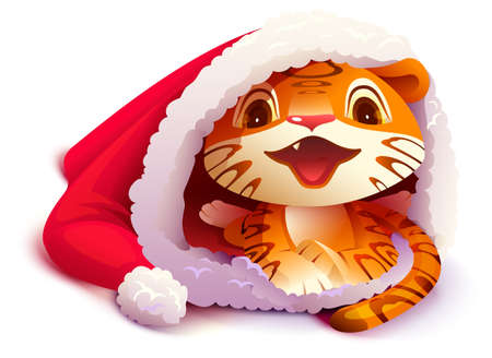 Tiger cub wearing santa claus hat symbol 2022. Vector cartoon illustration isolated on white
