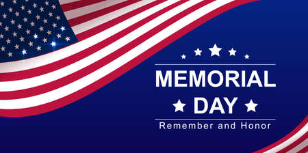 Memorial Day usa banner greeting card remember and honor text. Vector illustration flag