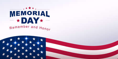 Memorial Day Banner USA Flag Text Greeting Card. Vector Illustration