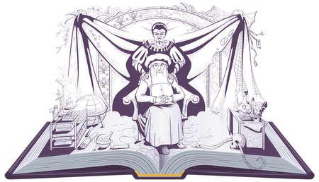 Faust and Mephistopheles devil seduces scientist alchemist. Open book vector illustration Stock Illustratie