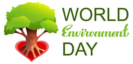 World Environment Day text tree growing from heart shape symbol love. Vector illustration isolated on white
