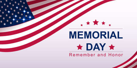 USA Memorial day text banner greeting card template. Vector illustration Stock Illustratie