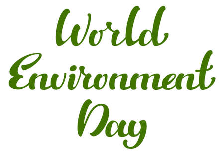World Environment Day text template greeting card. Vector illustration isolated on white Stock Illustratie