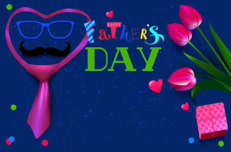 Happy Fathers day template text greeting card. Bouquet flower tulip tie and mustache. Vector illustration