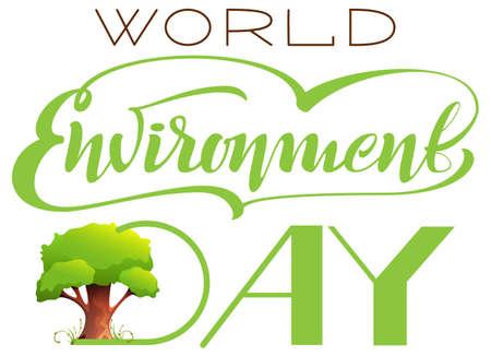 World Environment Day lettering text template greeting card and tree. Vector illustration isolated on white Stock Illustratie