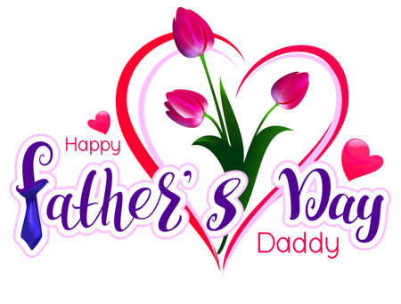 Happy Fathers day daddy text lettering greeting card template. Red tulip bouquet gift. Vector illustration isolated on white