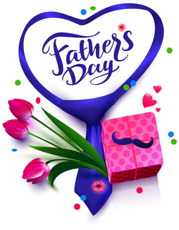 Fathers day text template greeting card. Flowers, mustache and gift box. Vector illustration isolated on white