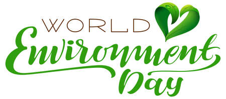 World environment day lettering text for greeting card with green heart shape from leaves. Vector illustration isolated on white Stock Illustratie