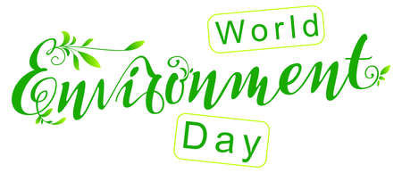 World environment day ornate lettering text banner greeting card template. Vector illustration isolated on white Stock Illustratie