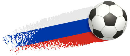 Soccer ball flying on background of Russian flag. European football championship 2020 and 2021. Vector illustration isolated on white