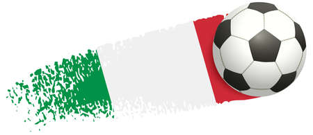 Soccer ball flying on background of Italian flag. European football championship 2020 and 2021. Vector illustration isolated on white