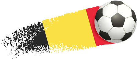 Soccer ball flying on background of belgium flag. European football championship 2020 and 2021. Vector illustration isolated on white