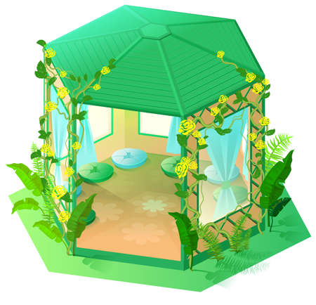 Green gazebo garden architecture 3d isometric illustration. Vector cartoon isolated on white Stock Illustratie