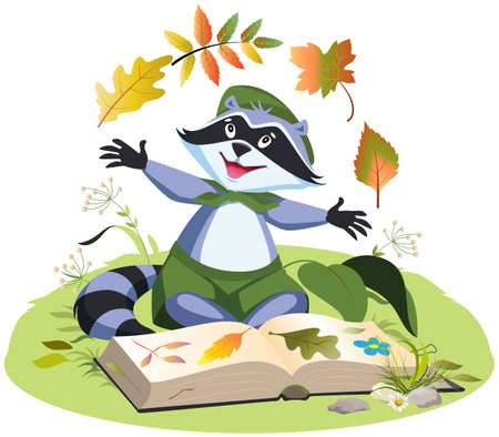 Scout collects herbarium of plants. Boy scout raccoon sitting on grass with an open book. Vector cartoon illustration