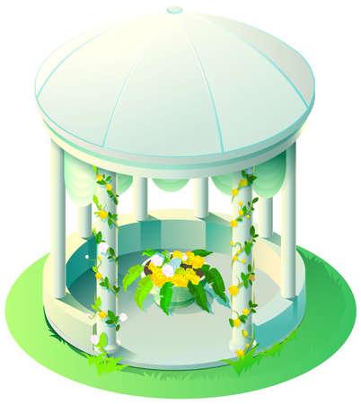 White marble summer gazebo with flower bed. Vector isometric illustration