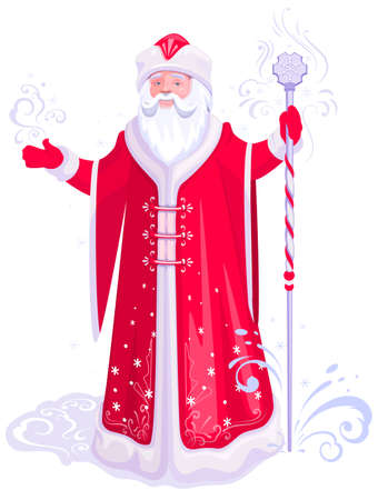 Russian santa claus grandfather frost in red coat stand with ice staff. Vector cartoon illustration isolated on white
