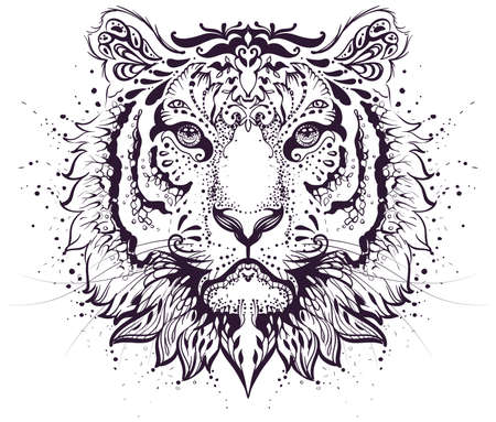Tiger head abstract pattern symbol 2022 year zodiac sign. Vector illustration isolated on white