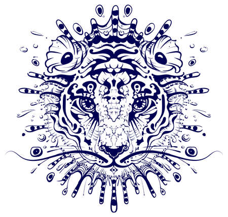 Tiger head abstract drawing mandala. 2022 year of water tiger to chinese calendar zodiac sign. Vector illustration isolated on white