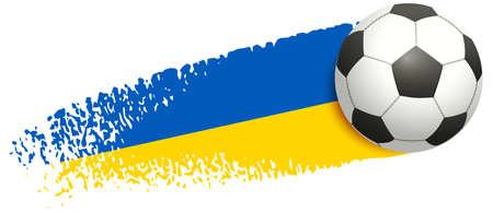 Victory Ukraine national team football. Soccer ball fly Ukrainian flag. Vector cartoon illustration isolated on white