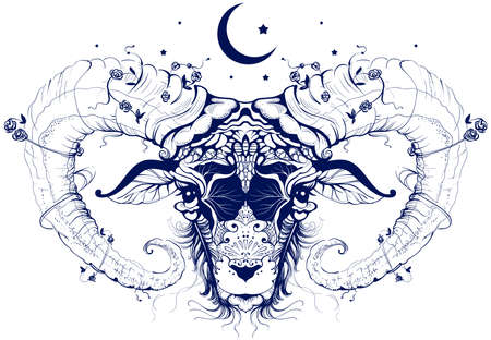Ram head abstract drawing crescent moon sacrifice symbol. Vector illustration isolated on white