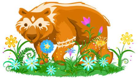 Brown bear on flower meadow totem animal symbol. Vector cartoon illustration