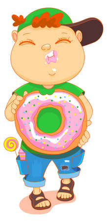 Chubby cute kid eat donut. Boy walk and hold sweet donut in his hands. Isolated on white vector cartoon illustration