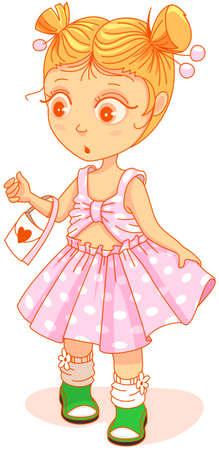 Little cute girl in beautiful dress looking surprised. Vector cartoon illustration isolated on white Stock Illustratie