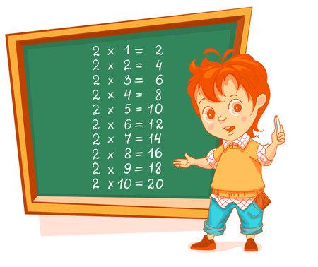 Boy student write multiplication table 2 on chalkboard. Math lesson education. Vector cartoon illustration isolated on white Stock Illustratie