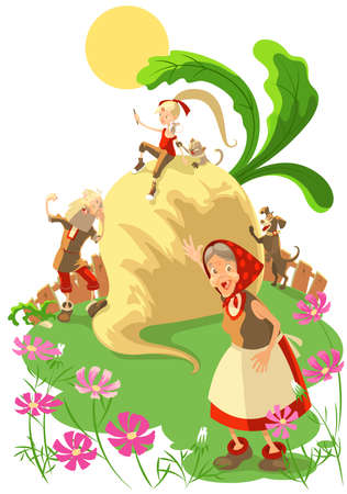 Fairy tale of great big turnip. Contemporary education read for kid. Vector cartoon illustration isolated on white Stock Illustratie