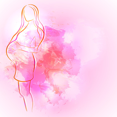 Expecting (pregnant) mother. Watercolor design element for pregnancy theme woman silhouette.