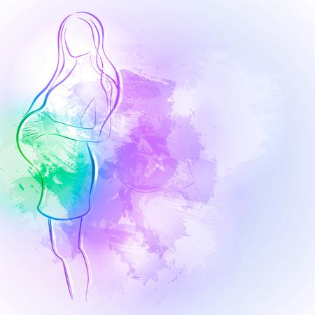 Expecting (enceinte) mère. Aquarelle élément de design pour le thème de la grossesse femme silhouette. Banque d'images - 66578985