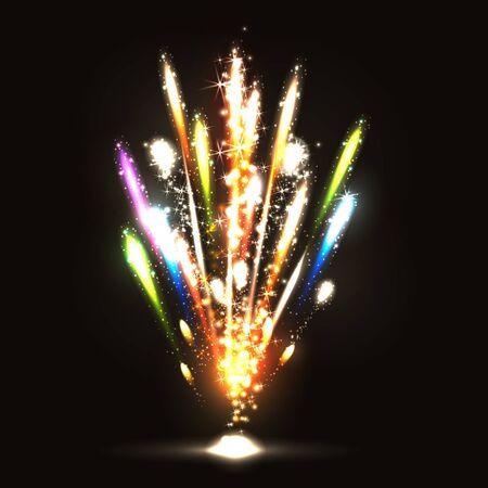Vector illustration. Fireworks on a dark background Illustration