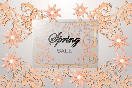 Spring sale background with beautiful flower. Vector illustration. Illustration