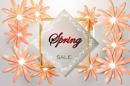 Spring sale with beautiful flower.