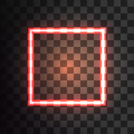 Red neon square on a transparent background