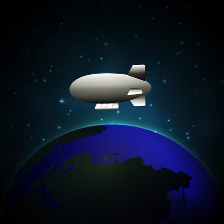 Airship in space flying above the earth