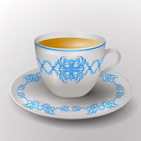 decorative cup with tea. Service with blue ornament. Vector