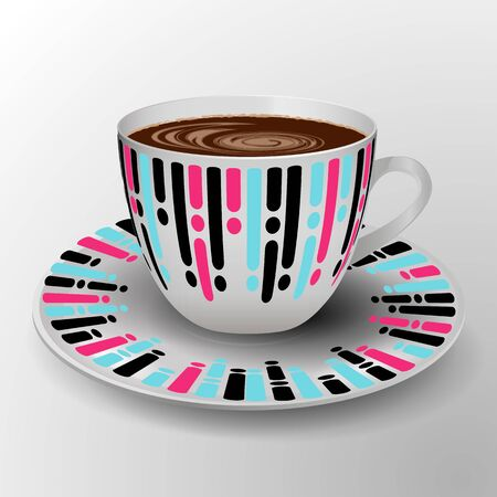 Decorative cup with coffee and modern geometric design