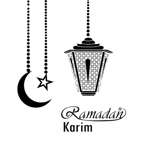 Ramadan greeting card design with lantern illustration. Ilustração